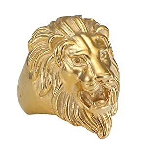 316L Stainless Steel Gothic Biker Lion Head Fashion Ring golden (10)