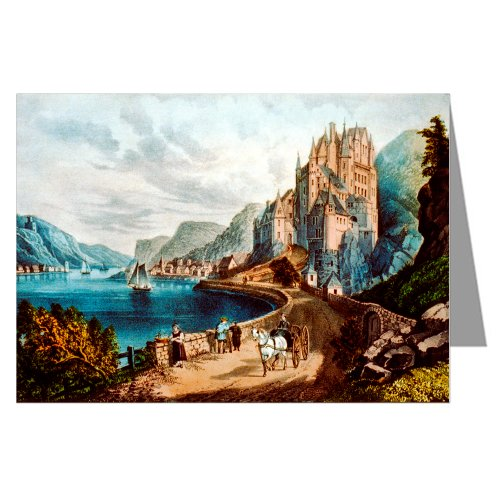 "12-Note cards Boxed Set of Currier And Ives Handcolored Lithograph titled ""View on the Rhine."""