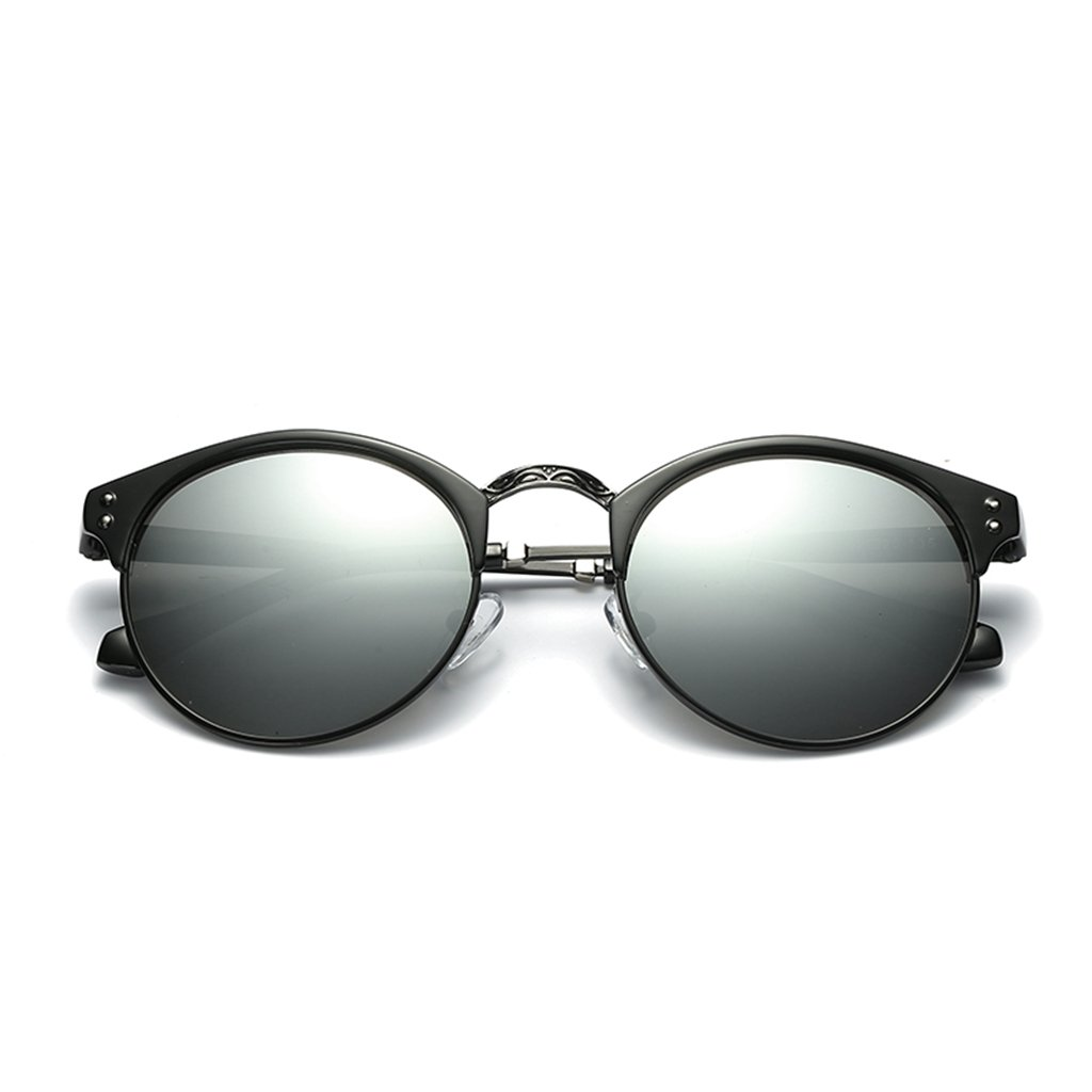LUOMON Polarized Clubmaster Sunglasses for Men Women Metal Black Silver Frame/Silver Round Lens Polarized Fashion Glasses LM036