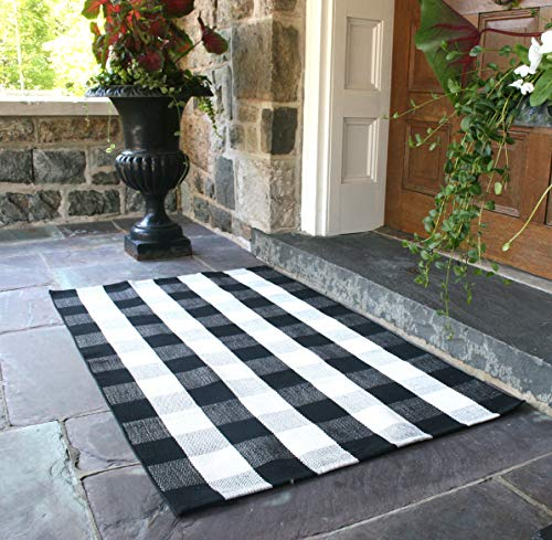 - Nanta Black and White Rug Buffalo Plaid Check Checkered Rug Cotton Hand-Woven Rugs for Welcome Door Mat Porch/Kitchen/Bathroom/Entry Way 3x5