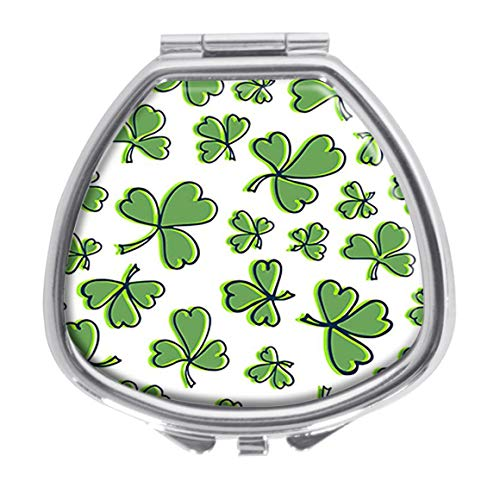 Udoosun Green Shamrock Decorative Boxes Pill Box Silver Single Compartment Pocket Purse Travel Pill Case Medicine Tablet Holder Wallet ()