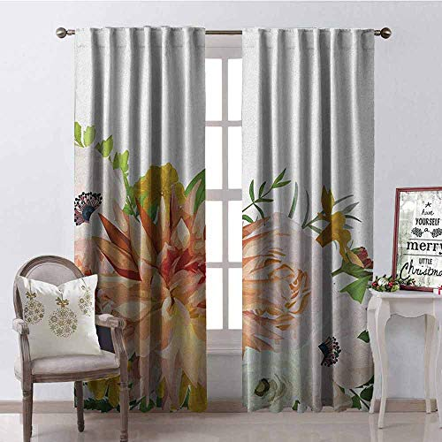 Gloria Johnson Anemone Flower Heat Insulation Curtain Garden Rose Dahlia Forest Meadow Bedding Plants Leaves Mix for Living Room or Bedroom W42 x L63 Inch Salmon Fern Green Khaki