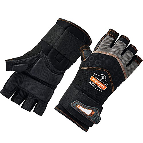 Ergodyne ProFlex 910 Impact Protection Work Gloves, Padded Palm, Half-Finger, Wrist Support, Large - Half Finger Impact Gloves