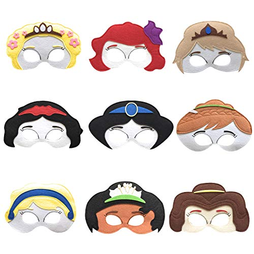 Kool KiDz Princess Masks 9 - Kids Face Masks for Birthdays, Halloween Costumes, Party Supplies, Games and More - Comfortable, One-Size-Fits-Most Design - Premium Quality Eco-Felt and Fleece -