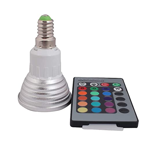 3 W E14 RGB Bombilla LED multicolor con mando a distancia (Cambio de color,