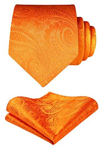 HISDERN Men's Paisley Floral Tie Handkerchief Wedding Party Necktie & Pocket Square Set Orange (Paisley Floral Necktie)