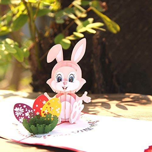 Vibrant Colors Meticulous Details by Laser Cut for Grand-kids CUTEPOPUP Easter Pop up Card with Funny Face Bunny Children Your Family or Your Loved Ones at Easter