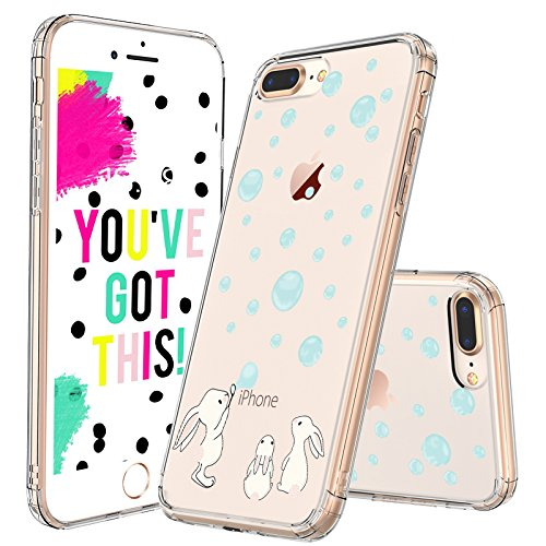 iPhone 7 Plus Case, iPhone 8 Plus Clear Case, MOSNOVO Cute Bunny Rabbit Clear Design Printed Plastic Back with TPU Bumper Protective Case Cover for Apple iPhone 7 Plus (2016) / iPhone 8 Plus (2017)
