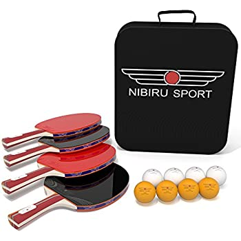 Table Tennis Set (4-Player Bundle) 4 Ping Pong Paddles, 8 ABS Tournament Level Balls | Convenient Storage Bag | Beginners, Professionals | Advanced Speed, Control, Spin | Indoor & Outdoor Play