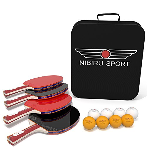 Table Tennis Set (4-Player Bundle) 4 Ping Pong Paddles, 8 ABS Tournament Level Balls | Convenient Storage Bag | Beginners, Professionals | Advanced Speed, Control, Spin | Indoor & Outdoor Play - Premier Table Cover