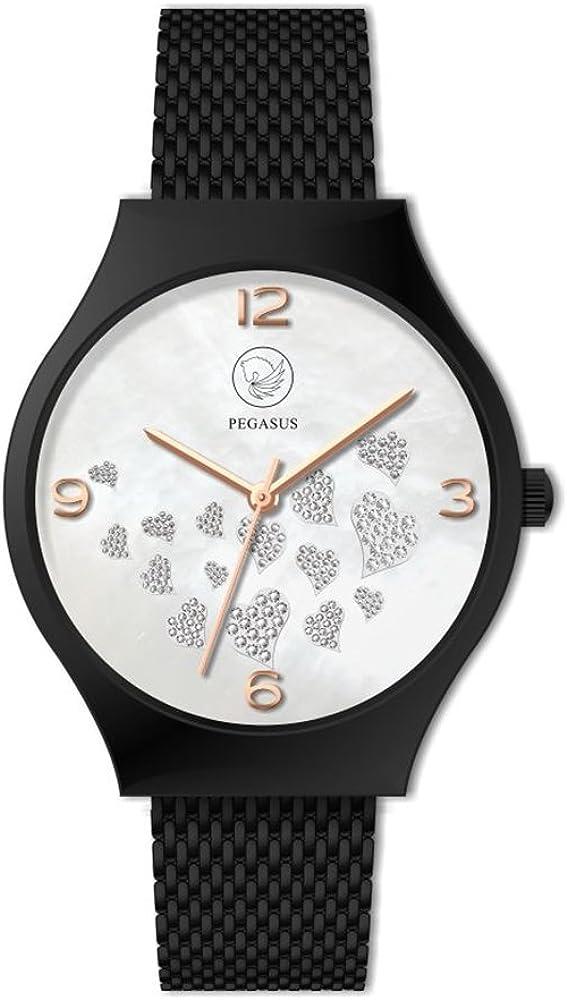 Power Hearts Negro Premium Energy Watch magnético Reloj de Pulsera Esprit Daylight sin níquel y allergiefrei Energetix 4you 2522en Joyas Pouch