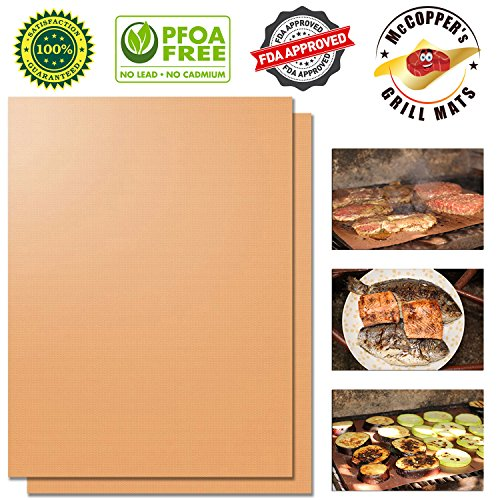 Copper Grill Mat Set of 2 by McCOPPER - FDA-Approved, PFOA F