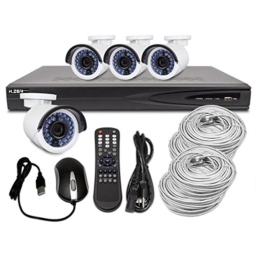 Best Vision HD Surveillance System w/ 4Ch 1080p 1TB NVR w/ Built-in POE and 4x 1.3MP IR Outdoor IP Cameras
