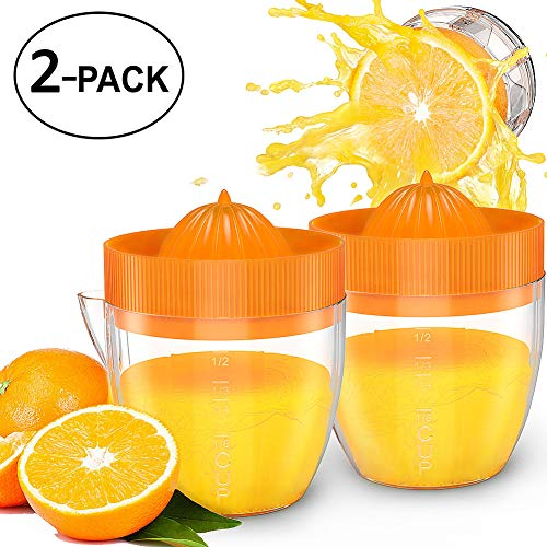 Lemon Squeezer Hand Juicer - Bariho Citrus Orange Squeezer Manual Lid Rotation Press Reamer for Lemon Lime with Strainer and Container