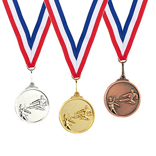 Medal Gold Martial Arts - Juvale 3-Piece Award Medals Set - Metal Olympic Style Taekwando Gold, Silver, Bronze Medals for Sports, Games, Competitions, Party Favors, 2 Inches in Diameter with 32-Inch Ribbon