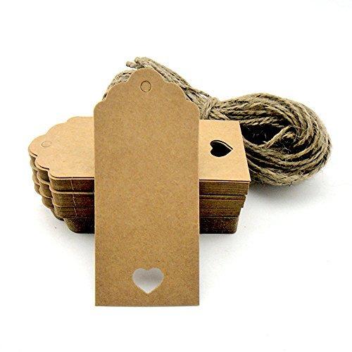 100Geschenkanhänger, Kraftpapier, mit gratis-Schnüren, für Geschenke, zum Basteln, als Preis-Etiketten Rectangular With Heart