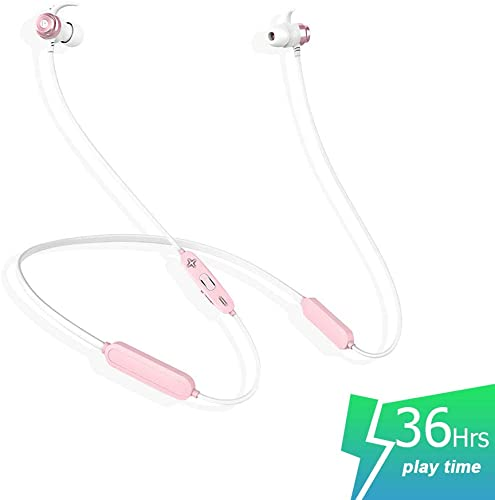 SLUB True Wireless Bluetooth Waterproof Sport HD Stereo Neckband Headphones with Mic 36H Play time Sweatproof for Cell Phone Double Battery Earbuds for iPhone Android Black red Pink