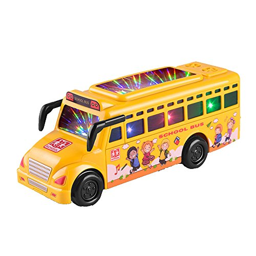Child Car Bus Light Car Music Lethargy Car Baby Toy Educational Flashing Mini Car School Bus Toy ()