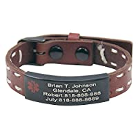 Personalized Free Engraving Quality Genuine Leather Medical Alert ID Bracelet