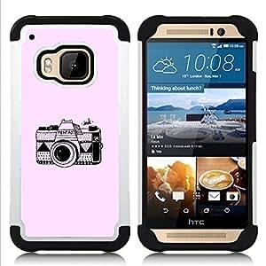 - pink camera retro vintage photography/ H??brido 3in1 Deluxe Impreso duro Soft Alto Impacto caja de la armadura Defender - SHIMIN CAO - For HTC ONE M9