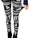 ECOSCO Women Reindeer Deer Snow Snowflake Legging Tight Pant