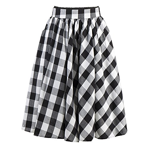 Cotton Candow Black Vintage Plaid Length amp;white Waist Skirts Look Plaid Skirt High Mid 8wpxRHq8r