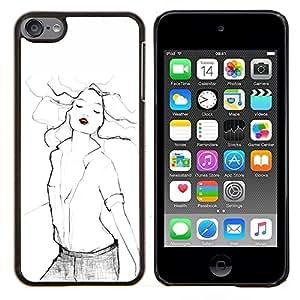 Eason Shop / Premium SLIM PC / Aliminium Casa Carcasa Funda Case Bandera Cover - Mujer Moda Arte atractivo blanco - For Apple iPod Touch 6 6th Touch6