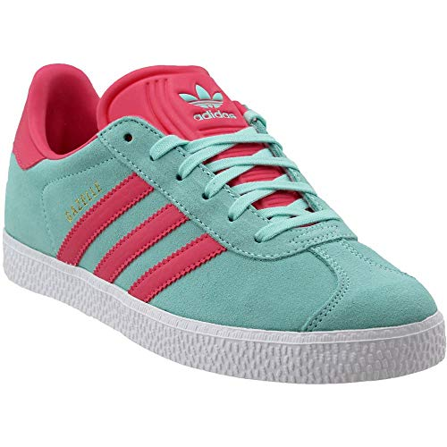 (adidas Originals Men's Gazelle J Sneaker Energy Aqua/Super Pink/Metallic Gold 5 Medium US Big Kid)