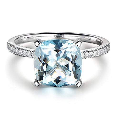 Promise Gemstone natural Aquamarine 14K White Gold Inlay 0.15ct Diamond in South Africa Wedding Engagement Ring For Women by Kardy