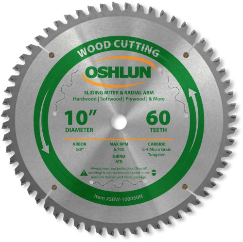 - Oshlun SBW-100060N 10-Inch 60 Tooth Negative Hook Finishing ATB Saw Blade with 5/8-Inch Arbor for Sliding Miter and Radial Arm Saws