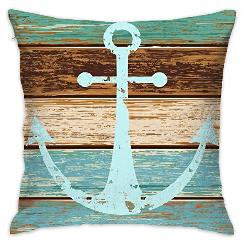Rasktas Pillow Cases Boat Anchor Nautical Rustic Wooden Planks Square Cushion Cover Standard Pillowcase for Home Decorative Sofa Bedroom Livingroom with Zipper 18 X 18 in