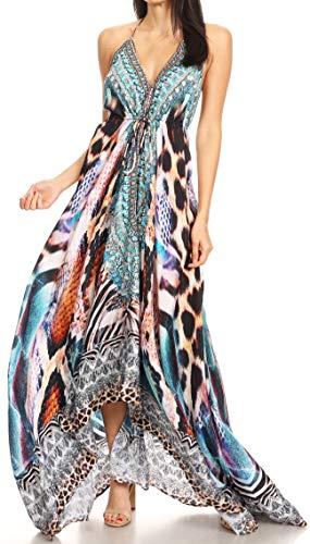 Sakkas 1817 - Lizi Womens Maxi High-Low Halter Handkerchief Long Dress Beach Party - SCBR226-Brown - OS