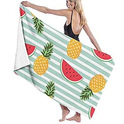 BAGT Luxury Oversized Beach Towels, Watermelon Pineapple Prints Bath Towel Wrap Womens Spa Shower and Wrap Towels Swimming Bathrobe Cover Up for Ladies Girls - White