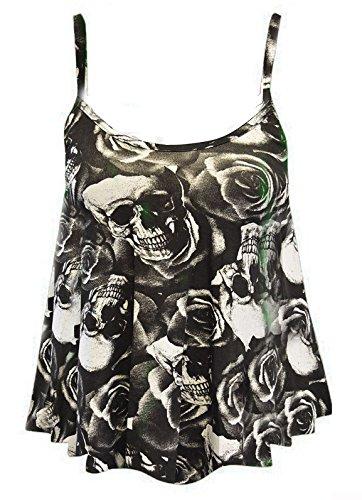 Nueva Mujer Impreso tiras Cami–Chaleco salvavidas para mujer para espaguetis Top Plus Size 8–�?2 Rose Skull