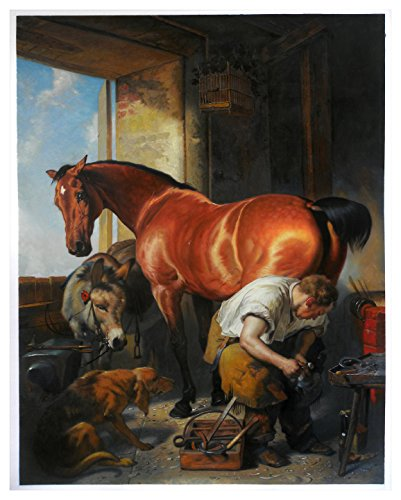 Shoeing - Edwin Henry Landseer high quality hand-painted oil painting reproduction,Horse,Donkey and Dog in Shoemaker Room,office wall art decorations