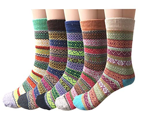 Winter Socks 5 Pairs, Vintage Style Chunky Knit Wool Cashmere, Thick Warm Soft Solid Casual Sports Socks