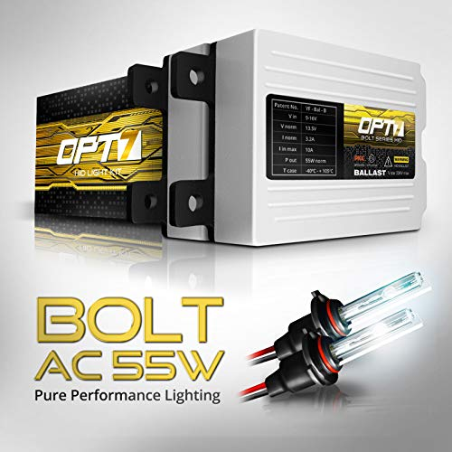OPT7 Bolt AC 55w 9006 HID Kit - 5X Brighter - 6X Longer Life - All Bulb Sizes and Colors - 2 Yr Warranty [5000K Bright White Xenon Light] (Best Quality Hid Kit)