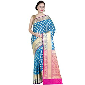 Chandrakala Women's Banarasi Katan Silk Blend Saree with Unstitched Blouse Piece (1269BLU_Blue)