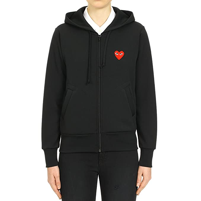 2c74b157a0a2 Comme des Garcons Play Women s Red Heart Patch Zip Hooded Sweatshirt P1T171  Black ...