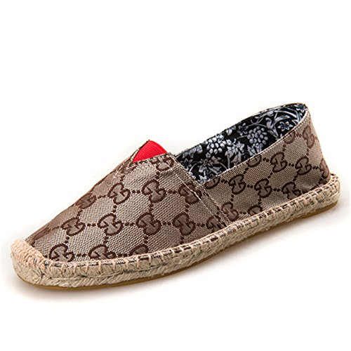 Men Women Fashion Slip On Woman Flat Casual Shoe Canvas Leisure Espadrilles Student Shoes Unisex(Bronze 41/10 B(M) US Women / 7.5 D(M) US Men) ()