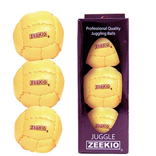 Zeekio Galaxy 12 Panel Leather Juggling Ball, Yellow, Set of 3