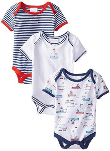 ABSORBA Baby-Boys Newborn Little Sailor 3 Pack Body Suits, Multi Color, 3-6 Months