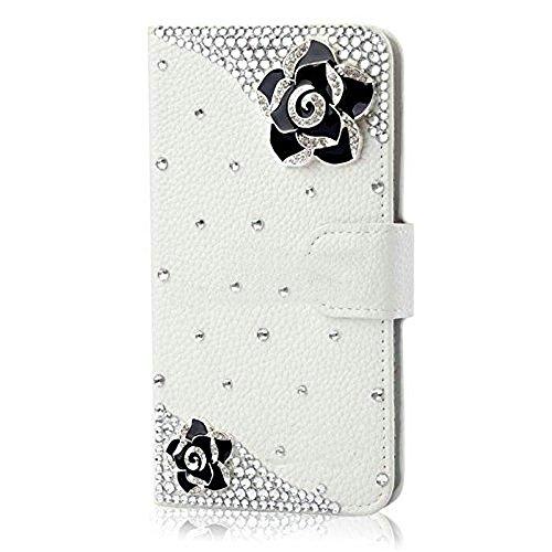 Evtech (tm) Floral Rosa Blanca PU Leather Case Caja de la carpeta de la cubierta del soporte del tirón con ranuras para tarjetas para Samsung Galaxy S6 Edge Plus Patrón-6