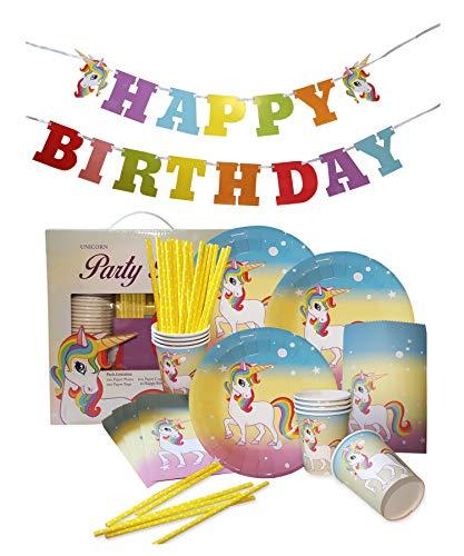Alpine Choice 81 Piece Unicorn Party Supplies - Rainbow Unicorn Birthday Pack with Unicorn Banner, Plates, Cups, Straws, Favor Bags