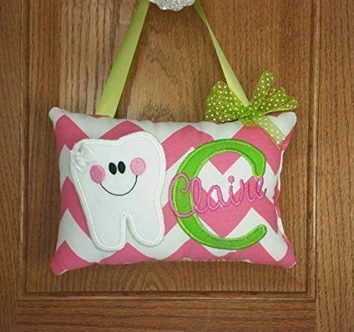 Girls personalized tooth fairy pillow gray and white chevron