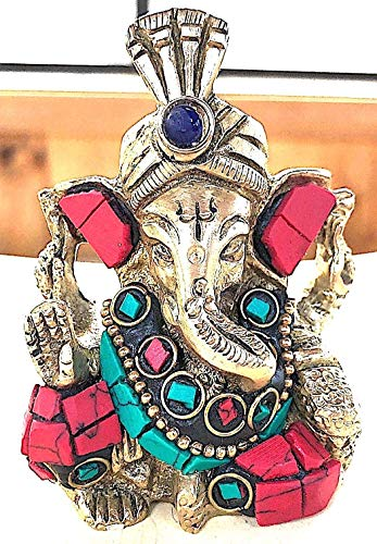 Sri Ganesh idol, Shri Ganesha in Brass Beautifully hand crafted w/Turquoise Red Howlite gemstone inlay - Elephant God - Prosperity, Overcome fears, Approx. Wt 215 gms; size 2.75x2 inch - US seller ()