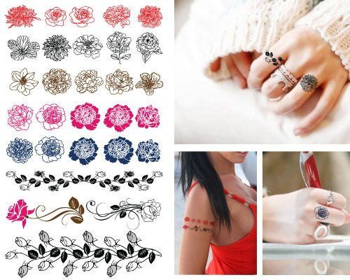 Supperb Temporary Tattoos - Sexy Finger Flower Tiny Rose Outline Tattoos