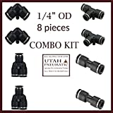 """1/4""""od Push To Connect Fittings pneumatic fittings kit 2 Spliters+2 elbows+2 tee+2 Straight 8pack"""