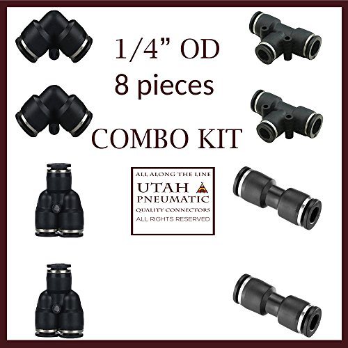 """1//4/""""od Push to Connect Fittings Pneumatic Fittings kit 2 Spliters+2 Elbows+2 tee+2 Straight 8pack 1//4 Combo Utah Pneumatic"""
