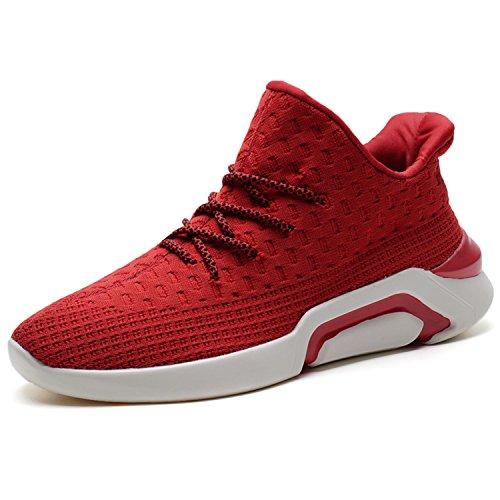 SITAILE Herren Sportschuhe Sneaker Atmungsaktiv Straßenlaufschuhe Freizeit Schnürer Laufschuhe Outdoor Sport Sommer Schuhe Rot